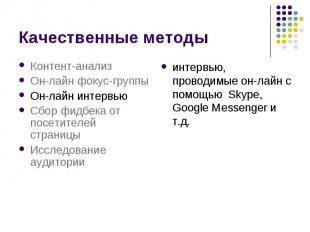 Качественные методы интервью, проводимые он-лайн с помощью Skype, Google Messeng