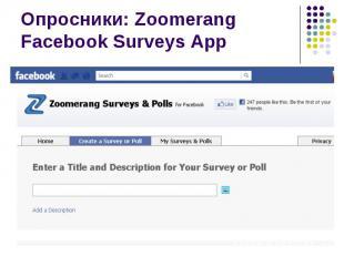 Опросники: Zoomerang Facebook Surveys App