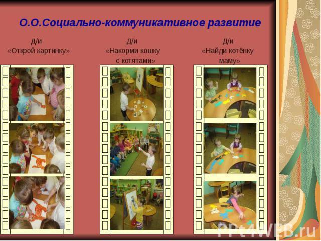 О.О.Социально-коммуникативное развитие Д/и Д/и Д/и «Открой картинку» «Накорми кошку «Найди котёнку с котятами» маму»