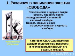 1. Различия в понимании понятия «СВОБОДА» Политические лидеры и вожди клялись пр