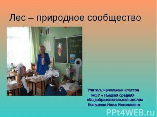 Лес – природное сообщество Учитель начальных классов МОУ «Таицкая средняя общеоб