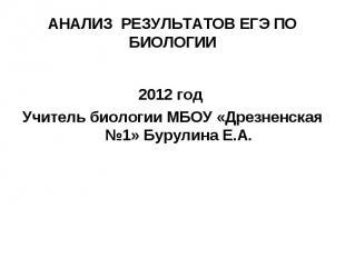 2012 год Учитель биологии МБОУ «Дрезненская №1» Бурулина Е.А.