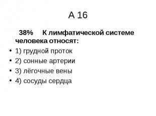 38% К лимфатической системе человека относят: 38% К лимфатической системе челове