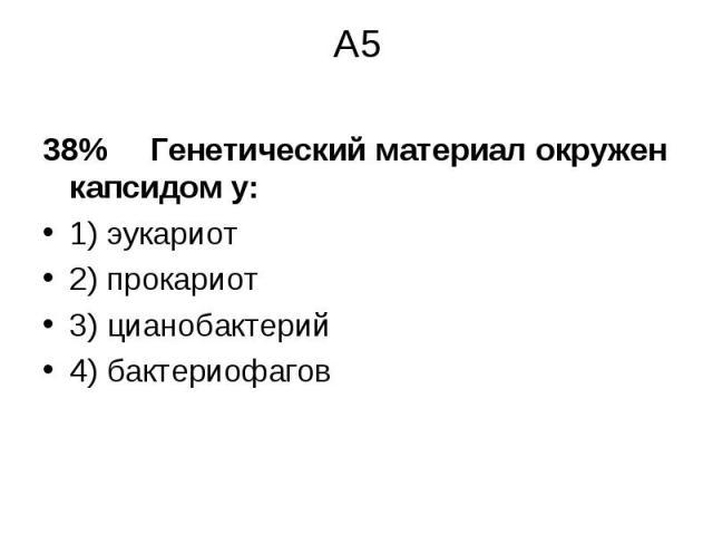 38% Генетический материал окружен капсидом у: 38% Генетический материал окружен капсидом у: 1) эукариот 2) прокариот 3) цианобактерий 4) бактериофагов