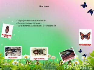 Итог урока - Какую роль выполняют насекомые? – Назовите признаки насекомых. – На