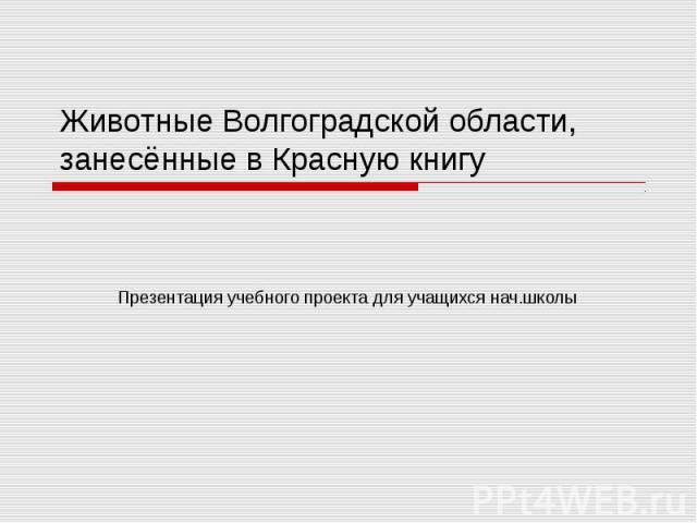 Животные Волгоградской области, занесённые в Красную книгу Презентация учебного проекта для учащихся нач.школы
