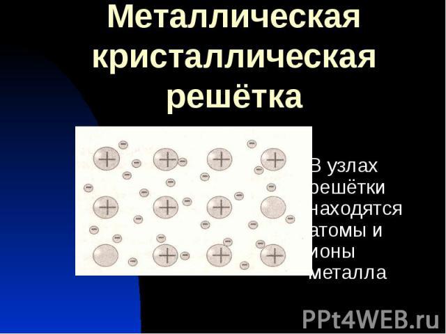 Металлическая кристаллическая решётка В узлах решётки находятся атомы и ионы металла