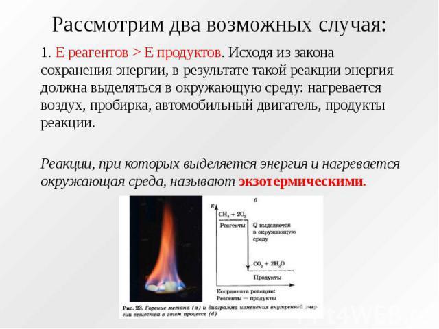 Рассмотрим два возможных случая: 1. E реагентов > E продуктов. Исходя из закона сохранения энергии, в результате такой реакции энергия должна выделяться в окружающую среду: нагревается воздух, пробирка, автомобильный двигатель, продукты реакции. …