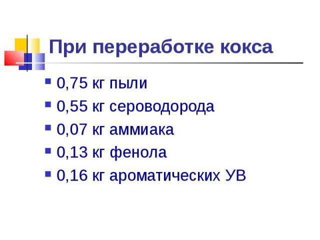 0,75 кг пыли 0,75 кг пыли 0,55 кг сероводорода 0,07 кг аммиака 0,13 кг фенола 0,16 кг ароматических УВ