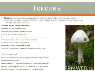 Токсины Токсины, токсичные вещества природного происхождения. Обычно к токсинам