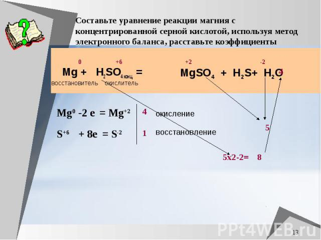 Составьте уравнение реакции магния с концентрированной серной кислотой, используя метод электронного баланса, расставьте коэффициенты Mg + H2SO4 конц. =