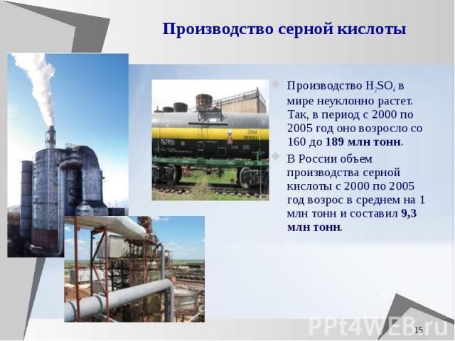 Производство серной кислоты Производство H2SO4 в мире неуклонно растет. Так, в период с 2000 по 2005 год оно возросло со 160 до 189 млн тонн. В России объем производства серной кислоты c 2000 по 2005 год возрос в среднем на 1 млн тонн и составил 9,3…