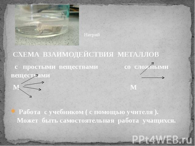 СХЕМА ВЗАИМОДЕЙСТВИЯ МЕТАЛЛОВ СХЕМА ВЗАИМОДЕЙСТВИЯ МЕТАЛЛОВ с простыми веществами со сложными веществами М М  Работа с учебником ( с помощью учителя ). Может быть самостоятельная работа учащихся.