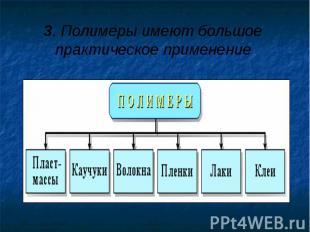 3. Полимеры имеют большое практическое применение