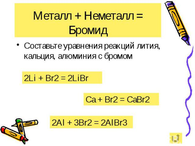 Металл + Неметалл = Бромид Составьте уравнения реакций лития, кальция, алюминия с бромом