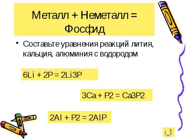 Металл + Неметалл = Фосфид Составьте уравнения реакций лития, кальция, алюминия с водородом