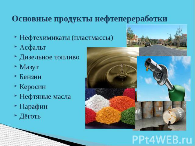 Основные продукты нефтепереработки Нефтехимикаты (пластмассы) Асфальт Дизельное топливо Мазут Бензин Керосин Нефтяные масла Парафин Дёготь