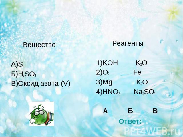 Вещество Вещество А)S Б)H2SO4 В)Оксид азота (V)