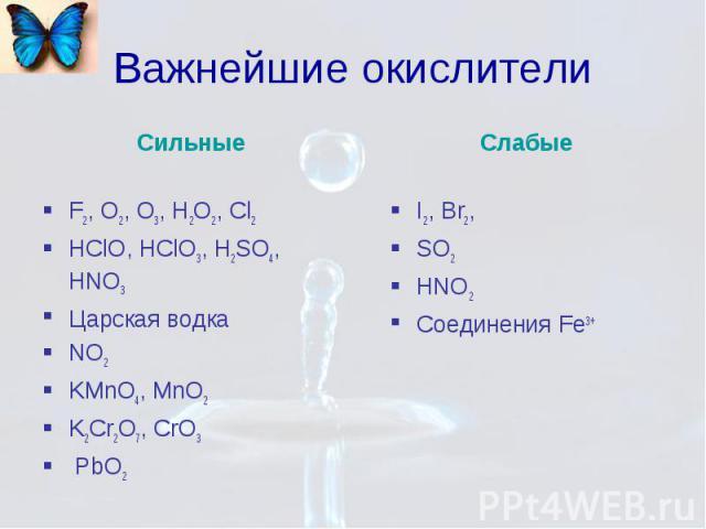 Важнейшие окислители Сильные F2, O2, O3, H2O2, Cl2 HClO, HClO3, H2SO4, HNO3 Царская водка NO2 KMnO4, MnO2 K2Cr2O7, CrO3 PbO2