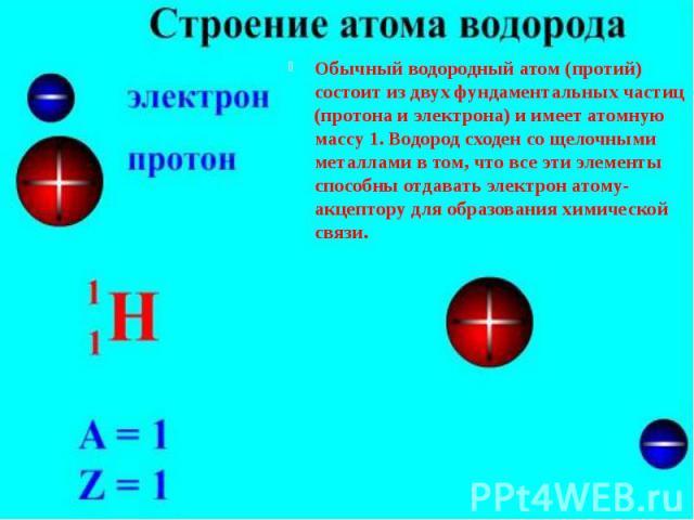 Обычный водородный атом (протий) состоит из двух фундаментальных частиц (протона и электрона) и имеет атомную массу 1. Водород сходен со щелочными металлами в том, что все эти элементы способны отдавать электрон атому-акцептору для образования химич…
