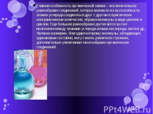 Главная особенность органической химии – исключительное разнообразие соединений,