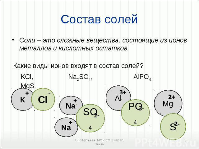 Соли – это сложные вещества, состоящие из ионов металлов и кислотных остатков. Соли – это сложные вещества, состоящие из ионов металлов и кислотных остатков.
