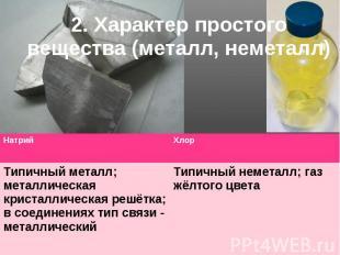 2. Характер простого вещества (металл, неметалл)