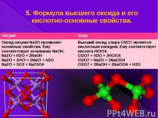 5. Формула высшего оксида и его кислотно-основные свойства.