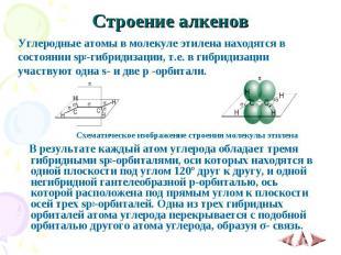 Строение алкенов Углеродные атомы в молекуле этилена находятся в состоянии sp2-г