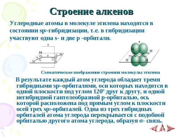 Строение алкенов Углеродные атомы в молекуле этилена находятся в состоянии sp2-гибридизации, т.е. в гибридизации участвуют одна s- и две p -орбитали. &nb…