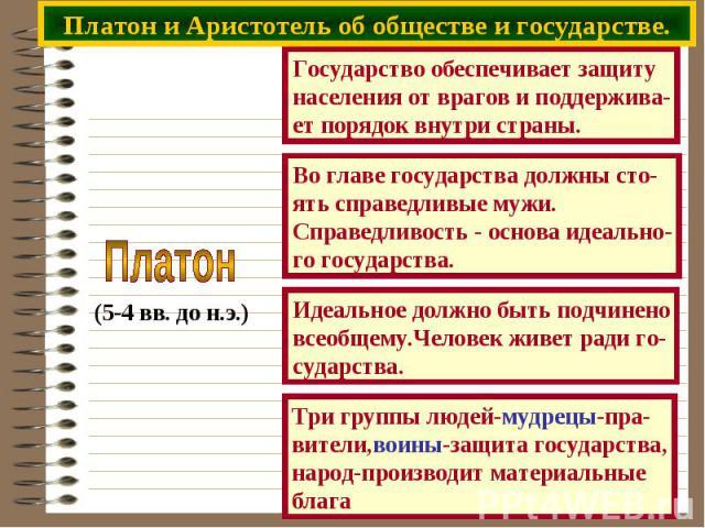 Платон и Аристотель об обществе и государстве.