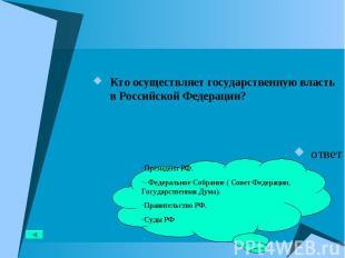 Кто осуществляет государственную власть в Российской Федерации? Кто осуществляет
