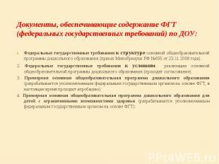 Документы, обеспечивающие содержание ФГТ (федеральных государственных требований
