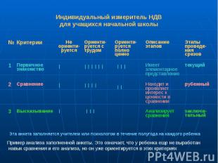 Индивидуальный измеритель НДВ для учащихся начальной школы