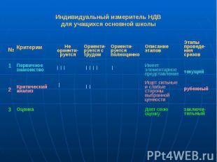 Индивидуальный измеритель НДВ для учащихся основной школы
