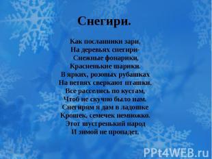 Снегири. Как посланники зари, На деревьях снегири- Снежные фонарики, Красненькие