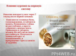 Влияние курения на нервную систему Никотин попадает в мозг через 7 секунд после