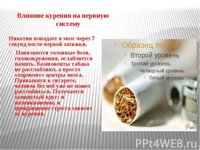 Влияние курения на нервную систему Никотин попадает в мозг через 7 секунд после первой затяжки. Появляются головные боли, головокружения, ослабляется память. Компоненты табака не расслабляют, а просто «тормозят» центры мозга. Привыкнув к сигарете, ч…