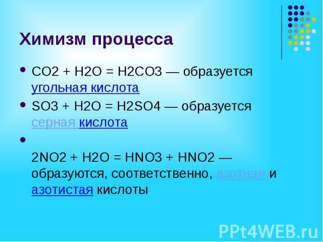 Химизм процесса СO2 + H2O = H2СO3 — образуется угольная кислота SO3 + H2O = H2SO4 — образуется серная кислота 2NO2 + H2O = HNO3 + HNO2 — образуются, соответственно, азотная и азотистая кислоты