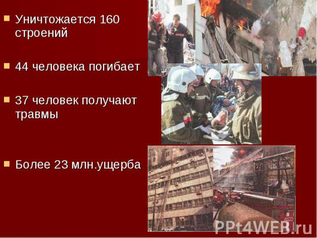 Уничтожается 160 строений Уничтожается 160 строений 44 человека погибает 37 человек получают травмы Более 23 млн.ущерба