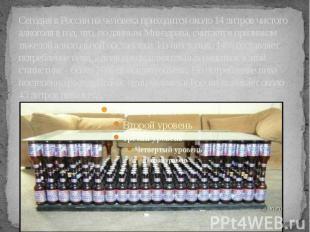 Сегодня в России на человека приходится около 14 литров чистого алкоголя в год,