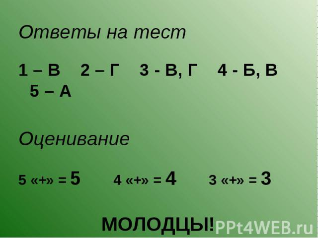 Ответы на тест Ответы на тест 1 – В 2 – Г 3 - В, Г 4 - Б, В 5 – А Оценивание 5 «+» = 5 4 «+» = 4 3 «+» = 3 МОЛОДЦЫ!