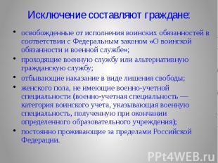 Исключение составляют граждане: освобожденные от исполнения воинских обязанносте