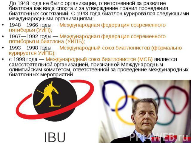 До 1948 года не было организации, ответственной за развитие биатлона как вида спорта и за утверждение правил проведения биатлонных состязаний. С 1948 года биатлон курировался следующими международными организациями: До 1948 года не было организации,…