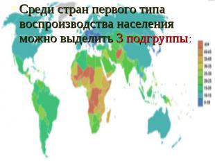 Среди стран первого типа воспроизводства населения можно выделить 3 подгруппы: С