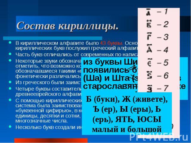 Состав кириллицы. В кириллическом алфавите было 43 буквы. Основой для 26 кириллических букв послужил греческий алфавит. Часть букв отличались от современных по написанию. Некоторые звуки обозначались двумя буквами. Впрочем, следует отметить, что воз…