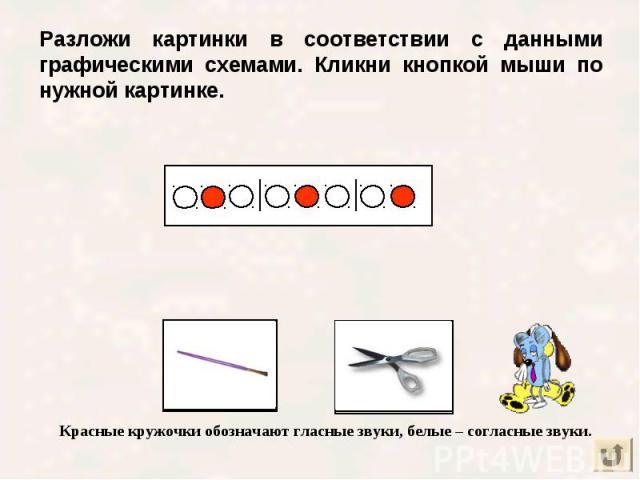 Разложи картинки в соответствии с данными графическими схемами. Кликни кнопкой мыши по нужной картинке.
