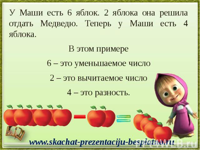 У Маши есть 6 яблок. 2 яблока она решила отдать Медведю. Теперь у Маши есть 4 яблока. У Маши есть 6 яблок. 2 яблока она решила отдать Медведю. Теперь у Маши есть 4 яблока. В этом примере 6 – это уменьшаемое число 2 – это вычитаемое число 4 – это разность.