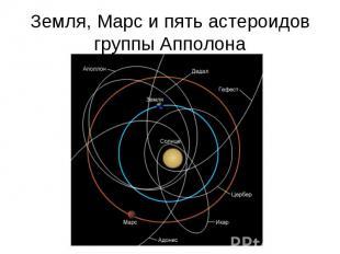 Земля, Марс и пять астероидов группы Апполона