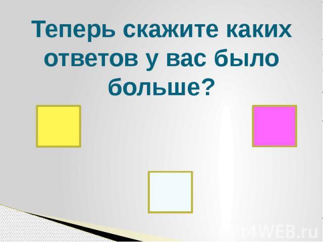 Теперь скажите каких ответов у вас было больше?